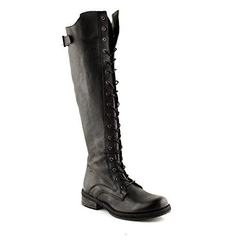 Felmini - Scarpe Donna - Innamorarsi Com Hardy A425 - Stivali Alti Stringate - in Pelle Genuina - Nero - 41 EU Size