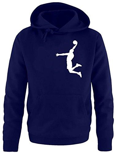 Coole-Fun-T-Shirts Dunk Basketball Slam Dunkin Kinder Sweatshirt mit Kapuze Hoodie Navy-Weiss, Gr.164cm