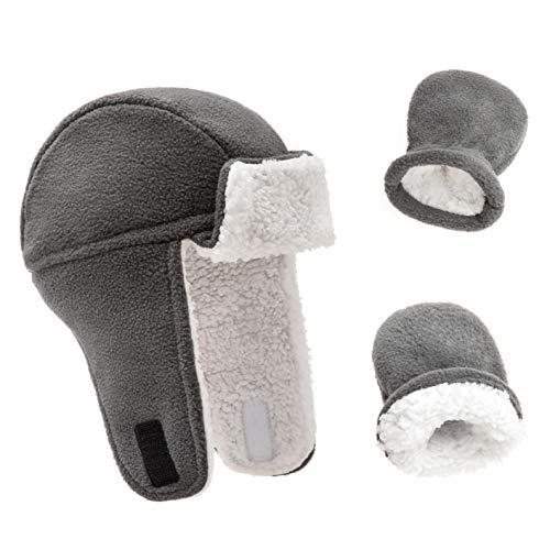 Juego de gorros y manoplas de forro polar para bebé, cálidos, para niños y niñas, monocolor