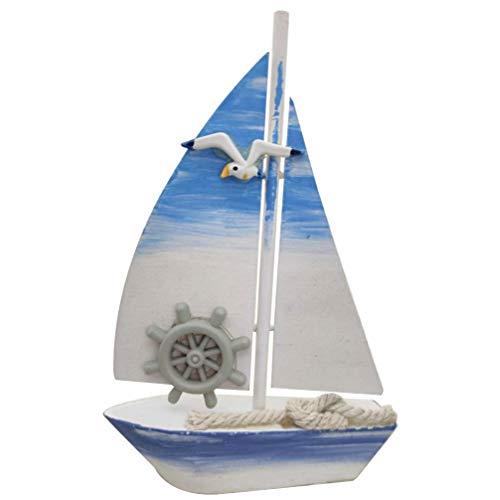 CLISPEED Miniatur Strandsegelboot Mediterranen Stil Segelschiff Modell Tischplatte Holz Handwerk Dekoration für Home Office (Ruder-Muster)