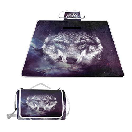LZXO Jumbo-Picknickdecke, faltbar, Galaxy Wolf, milchig, groß, 145 x 150 cm, wasserdicht, handliche Matte, für Outdoor-Reisen, Camping, Wandern.