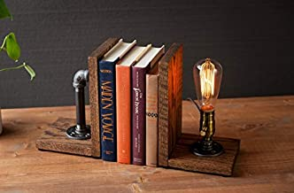 Industrial Steampunk bookend table pipe lamp with Classic Edison bulb and oak wood base