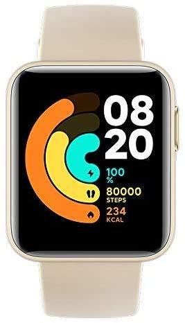 【日本正規代理店品】Xiaomi Mi Watch Lite スマートウォッチ 着信通知 スマートスポーツウォッチ 腕時計/活動量計/歩数計/心拍計 5ATM防水 連続9日間使用 GPS&GLONASS搭載(アイボリー)