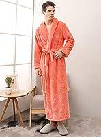 男性と女性のための豪華なソフビぬいぐるみローブ、ショールカラーロングバスローブ冬暖かいカップルナイトガウン部屋着,Men orange,3XL