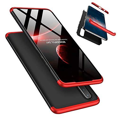 Funda Huawei P30 Lite/Nova 4e 360°Caja Caso + Vidrio Templado Laixin 3 in 1 Carcasa Todo Incluido Anti-Scratch Protectora de teléfono Case Cover para Huawei P30 Lite/Nova 4e (Roja Negro)