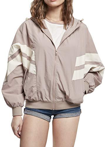 Urban Classics Ladies Crinkle Batwing Jacket Chaqueta calentadora, Duskrose/White Sand, XXXXL para Mujer