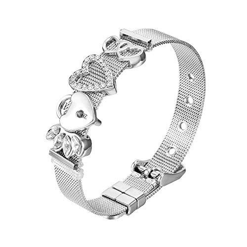 Heideman Armband Damen Mesh aus Edelstahl Silber farbend poliert Armkette für Frauen mit Charms Zirkonia Stein Weiss als Bracelet Crystal