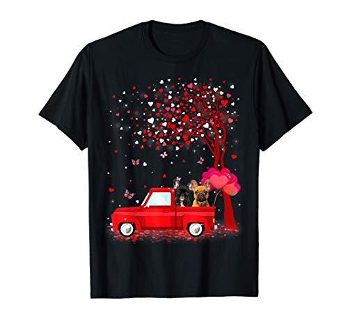 French Bulldog Valentine's Day Gifts Dogs Red Truck Hearts T-Shirt
