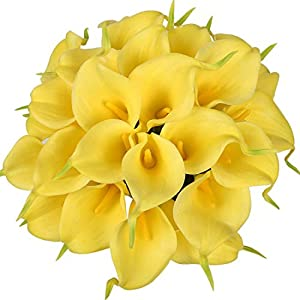 Veryhome 20pcs Lifelike Artificial Calla Lily Flowers for DIY Bridal Wedding Bouquet Centerpieces Home Decor (Yellow)