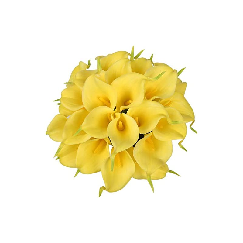 silk flower arrangements veryhome 20pcs lifelike artificial calla lily flowers for diy bridal wedding bouquet centerpieces home decor (yellow)