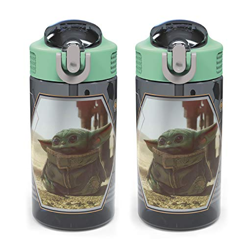 Zak Designs Star Wars The Mandalorian Kids Water Bottle Set with Spout Covers and Built-in Carrying Loops, Made of Plastic, Leak-Proof Water Bottle Designs (Baby Yoda/The Child, 16 oz, BPA-Free, 2pc)