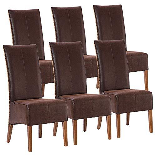casamia Rattanstühle Set 6 Stück Polsterstühle Esszimmer Stühle Antonio braun Polster Wildleder-Optik