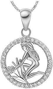 Onefeart Blanco Oro Plateado Colgante Collar Para Mujeres Blanco Cristal 12 Constelaciones Virgo 45CMx28X18MM