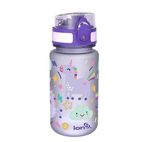 ion8 auslaufsichere Kinder Wasserflasche/Trinkflasche, BPA-frei, 350ml / 12oz, Einhörner