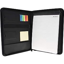 Business Portfolio Zippered, Tablet Case, Classic Padfolio, Document Organizer, 13 X 10 Writing Pad, Black