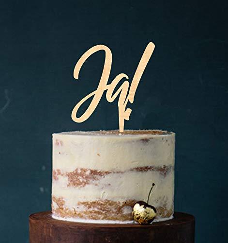 Manschin-Laserdesign Cake Topper, Tortenstecker, Tortefigur Acryl, Tortenständer - Farbwahl - Etagere Hochzeit Hochzeitstorte Ja! (Holz) Art.Nr. 5079