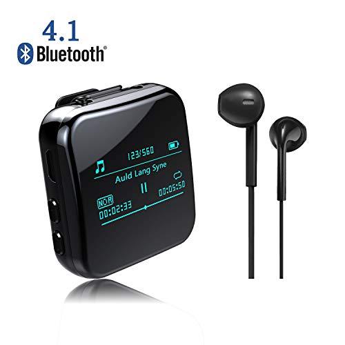 URSICO MP3 Player, 8GB Bluetooth 4.1 Mini Sport Musik Player mit Clip, 38 Stunden Wiedergabe Musikplayer mit Kopfhörer FM Radio Voice Recorder 1.1 Zoll OLED Bildschirm.
