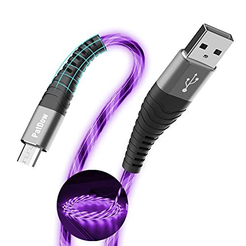 PatDow - Cable micro USB de carga rápida para Huawei Mate SE, Samsung Galaxy S7/S6/J7, LG, HTC, Sony, Moto, Kindle, PS4 y más (morado, 3 pies)