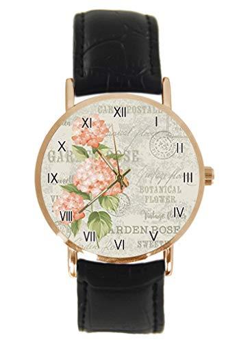 Hortensia Blumen Vintage Postkarte Hintergrund Armbanduhr Fashion Klassisch Unisex Analog Quarz Edelstahl Gehäuse Lederarmband Uhren