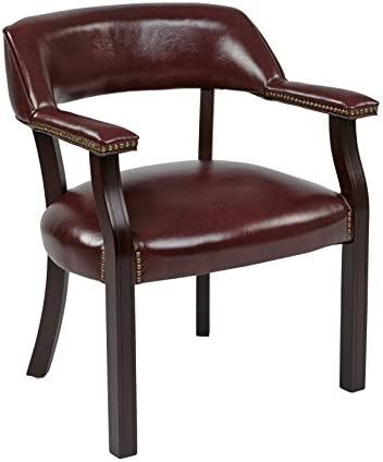 Best Office Star Padded Vinyl Seat and Back Traditional Guest Chair with Nailhead Accents and Mahogany Fi
