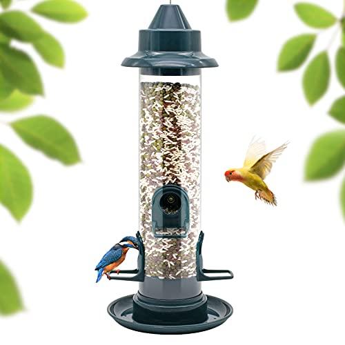 Vogelfutterhaus,Bird Feeder, Tube Hanging ,4 Feeding Ports,38 cm, Futterstation Wildvogelfütterung, Vogelfutterspender,Futterspender Vögel, Vogelfutter