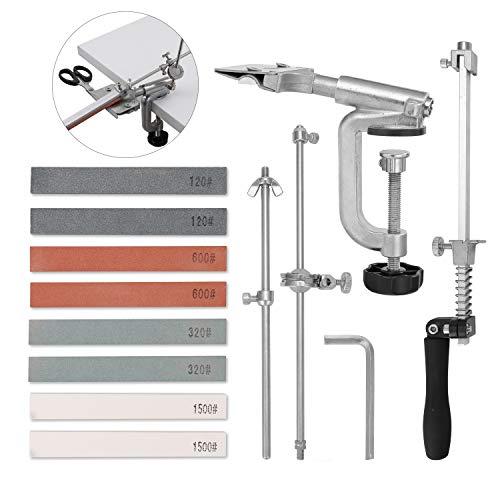 KKmoon Sharpemaker Kits,Edelstahl Küche Schärfsystem Werkzeuge Festwinkel Schleif Schleifmaschine Mit 8 Schleifsteinen(120#, 320#, 600#, 1500#)