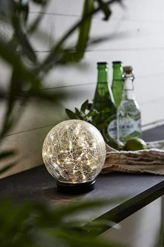 Kamaca LED SOLAR Kugel Crush in Crackle Glass Optik mit Einer LED Draht Lichterkette mit 30 Brennstellen mit Dämmerungssensor integriertes Solar-Panel (mit Standfuss)