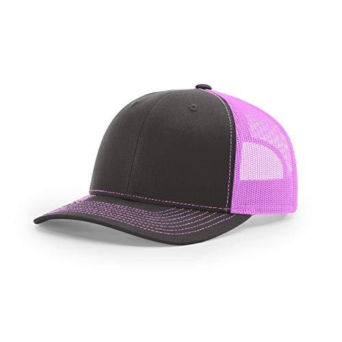Richardson Unisex 112 Trucker Adjustable Snapback Baseball Cap, Split Charcoal/Neon Pink, One Size Fits Most
