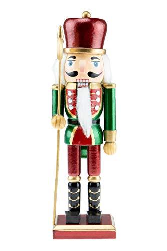 영리한 창조 그린 코트 10인치 전통 목조 호두까기 인형 선반과 테이블을 위한 축제 크리스마스 데코