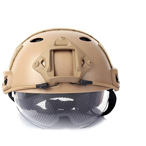Casco táctico Airsoft Shooting Gear al Aire Libre con Gafas PJ Airsoft Fast Tactical Helmet with Goggles - Tan