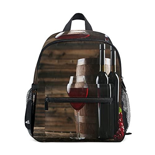 Mochila para niños y niñas, botellas de vino de cristal, bolsa escolar con correa para el pecho y soporte para botellas, mochila para guardería preescolar, ligera