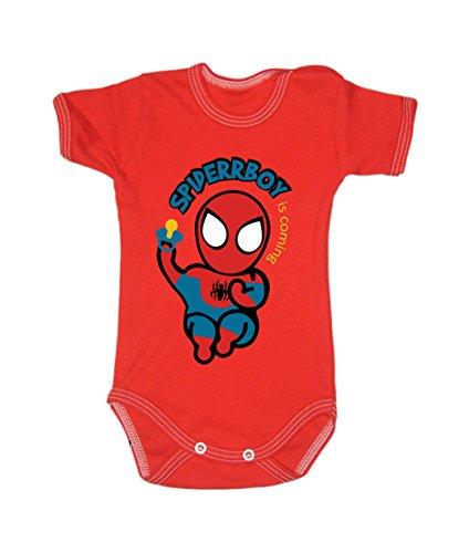 Couleur Mode bébé Spiderman bodies à manches courtes 100% coton Petit bébé – 24 mois – 0003 Red 0-3 months, 62 cm