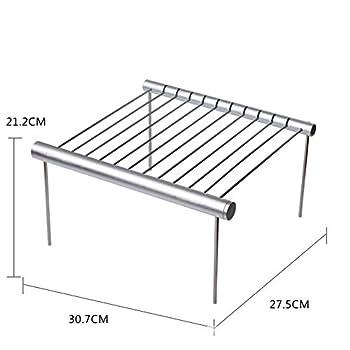 Mini barbecue portable pliable en acier inoxydable au charbon de bois léger amovible pour campeurs, randonnée, cour, survie (blanc argenté)