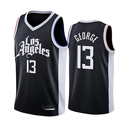 xiaotianshi Hombres NBA Basketball Jersey Los Angeles Clippers # 13 Paul George Transpirable Resistente al Desgaste de la Malla Bordada Camiseta de Baloncesto Deportes Camiseta,Negro,M