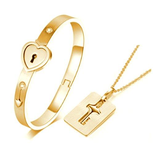 Heart Lock Love Bracelet Bangle Key Necklace Men Women Couple Lover Jewelry Set Rose Gold/White Silver (Gold)
