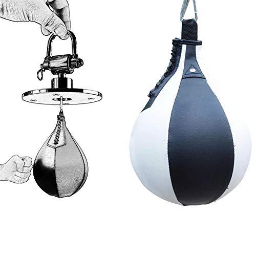 zhppac Saco Boxeo Adulto Pera Boxeo Boxeo de Speedball Entrenamiento de Boxeo Boxeo Accesorios Pelota de Boxeo Equipo de Fitness Boxeo contra Blackwhite,Free