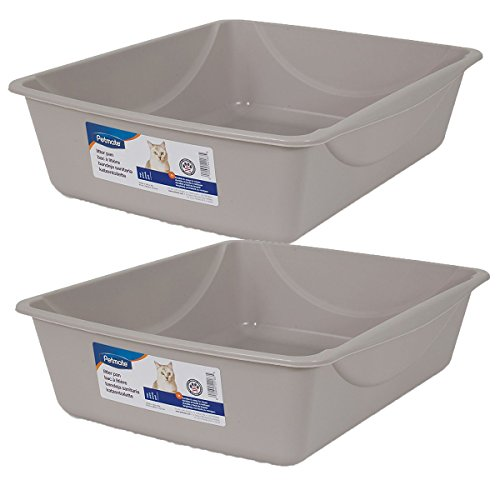 Petmate Litter Pan, Blue Mesa/ Mouse Grey, Large, 2 Pack
