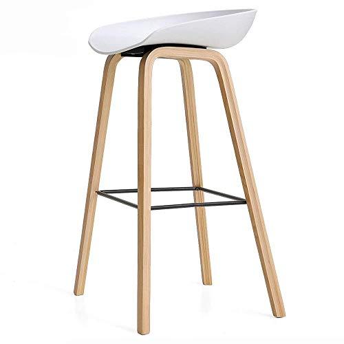 JIEER-C leerstoel barkruk eenvoud keukenstoel massief houten frame barkruk ringvormig pedaal barmeubel opslaggewicht 150 kg zithoogte 70 cm meerkleurig optioneel (kleur: wit) wit