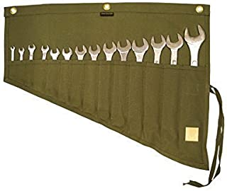 Asian Treasures/Bull Tools 14 Pocket | Hand Crafted | H.W.100% Dyed Cotton | 15 Oz. Duck Canvas | Garage Ready | Metric or SAE | Wrench and Tools Bag Organizer Roll Up Pouch | Dyed Olive Drab |