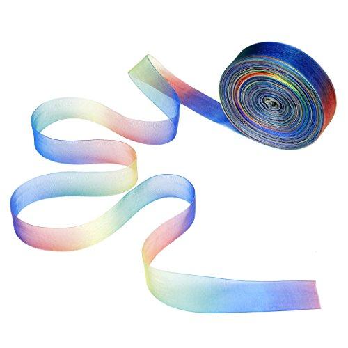 Organza Bänder 50 Yard Schimmer Sheer Organza Regenbogen Gradient Farben Band für Geschenk DIY handgefertigt Schleife Hochzeit Decor 25mm