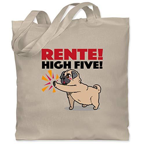 Shirtracer Statement - Mops Rente! High Five! - Unisize - Naturweiß - mops geschenke - WM101 - Stoffbeutel aus Baumwolle Jutebeutel lange Henkel
