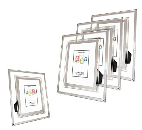 CHELY INTERMARKET, Marco de Fotos Cristal 13x18cm (Pack de 4 unds)(Bandas Plateadas)...