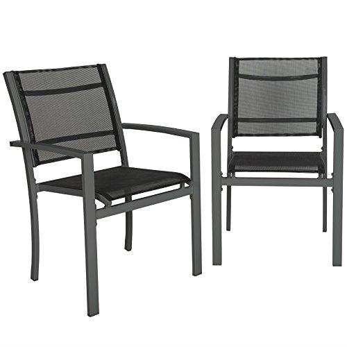 TecTake Set di 2 sedie da giardino poltrona campeggio metallo - disponibile in diversi colori - (Grigio scuro | no. 402064)