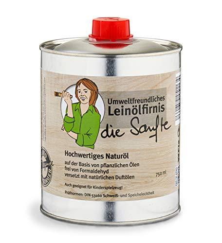 Aceite de linaza suave y respetuoso con el medio ambiente, 0,75 litros, aceite de madera prémium para interiores, sin color, apto para alimentos