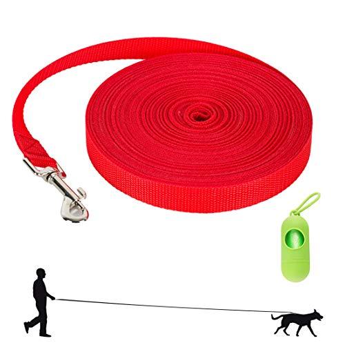 TVMALL Correa de Adiestramiento para Perros 4.5m, 6m, 9m, 15m Correa Perro Larga Cuerda de Tracción Resistente y Duradera para Perros Entrenamiento de Recuperación de obediencia, Juego, Camping