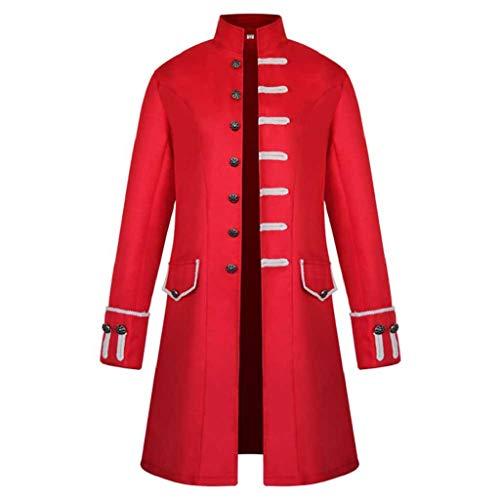 SHOBDW Hombres Cardigans Talla Grande Invierno Cálido Sólido Stand Collar Vintage Tailcoat...