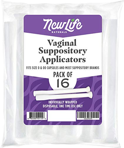 Disposable Plastic Vaginal Suppository Applicators: Individually Wrapped Suppository Applicator for Women - Fits Most Boric Acid Suppositories, Pills, Tablets and Size 0 and 00 Capsules - 16 Pack