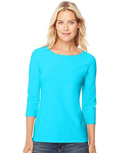 Hanes Women s Stretch Cotton Raglan Sleeve Tee, Flying Turquoise, Large