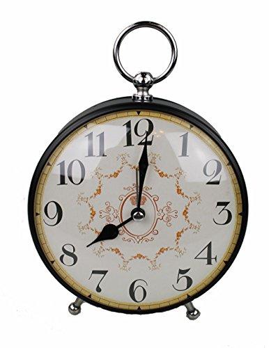 GMMH Tischuhr Nostalgie Antik Vintage Retro Metall Standuhr Dekowecker Uhr Wecker Design (schwarz 27-5)