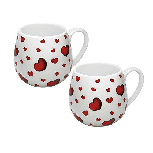 """Könitz Porzellan Kaffee Becher Set 2 teilig """"Little Hearts"""" schönes Kuschelbecher Kaffee Tassen Set, ideal auch als Tee Tasse oder Kakao Tasse, prima Geschenkidee,"""